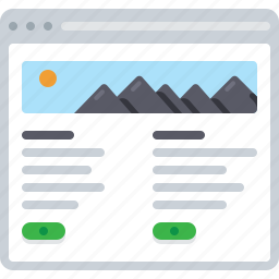 blog, flowchart, image, photo, sitemap, text, web icon