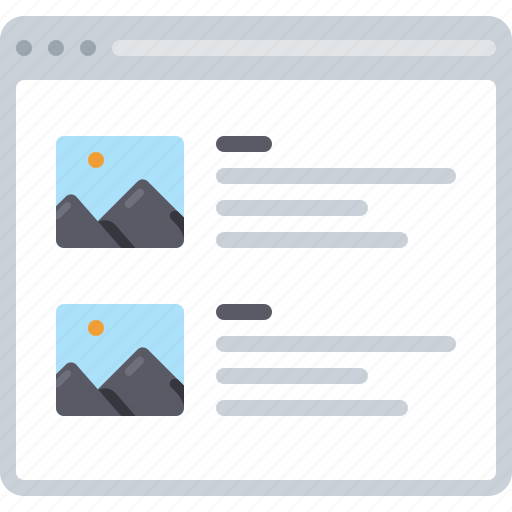 blog, flowchart, news, photo, sitemap, text, web icon