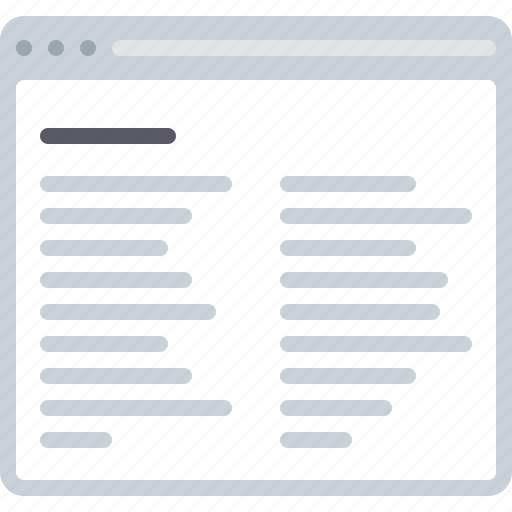 blog, flowchart, news, sitemap, text, two column, web icon