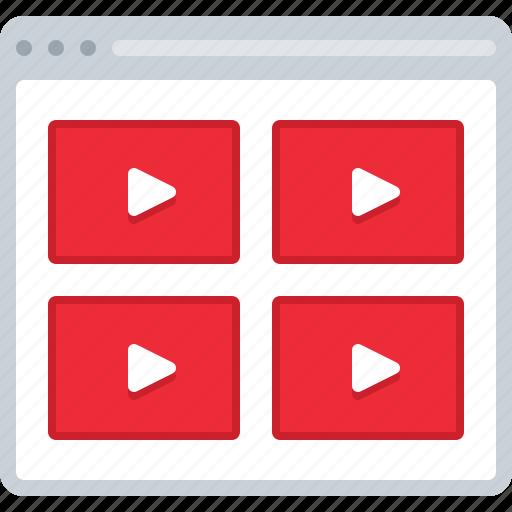 flowchart, list, preview, sitemap, video, web icon