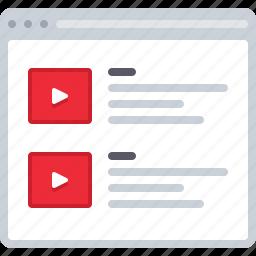 flowchart, list, movie, sitemap, video, watch list, web icon