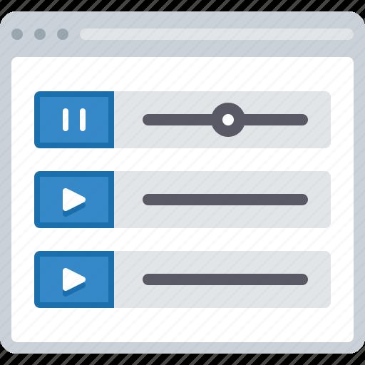audio, flowchart, music, player, playlist, sitemap, web icon