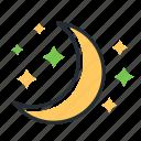 crescent, moon, night, stars