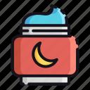 cream, night, rest, sleep, sleeping icon