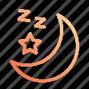 and, moon, night, rest, sleep, sleeping, star icon