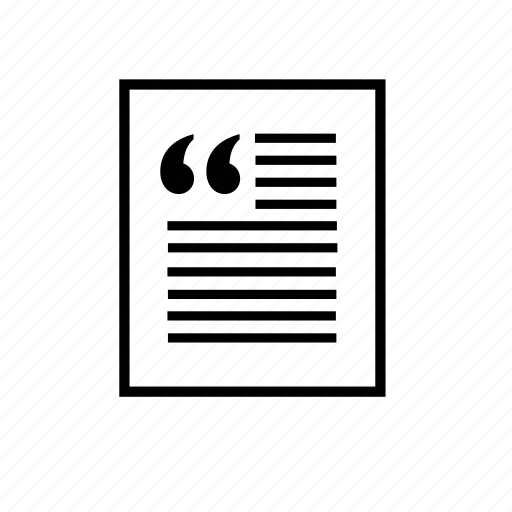 article, newspaper, office, paper, quote, read icon