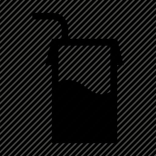 drink, individual, milk, straw, tetrapack icon
