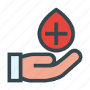blood, donation, drop, hand, transfusion icon