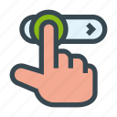 finger, gesture, hand, move, slider icon