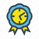 best, clock, label, ribbon, time icon