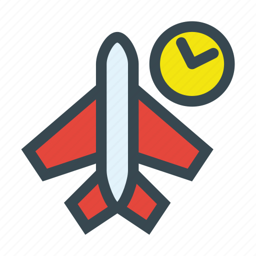 airplane, clock, schedule, time, travel icon