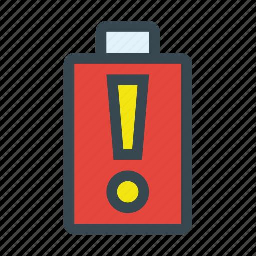 alert, battery, empty, energy, warning icon