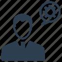 brainstorming, businessman, control, gear, strategy, user icon