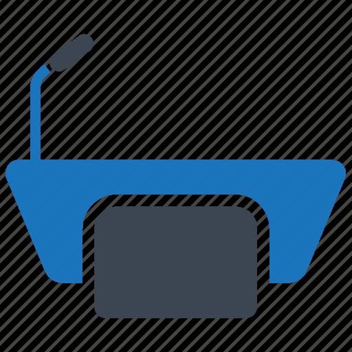 conference, dais, microphone, platform, podium, presentation icon