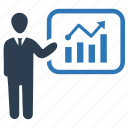 analytics, bar chart, business, graphical report, presentation icon