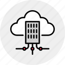 building, city, cloud, hub, infrastructure, network, organization icon