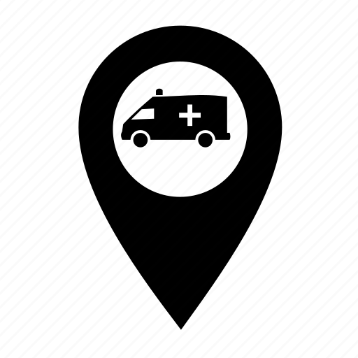 Pin, ambulance, direction, right, smart city, creative, grid, marker, pointer icon