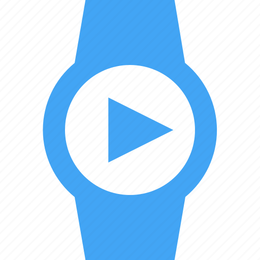 clock, play, smart watch, time, video, watch icon