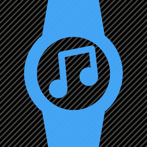 audio, clock, music, smart watch, time, watch icon