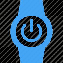 clock, power, smart watch, time, watch icon