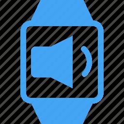 clock, device, smart watch, sound, time, volume, watch icon