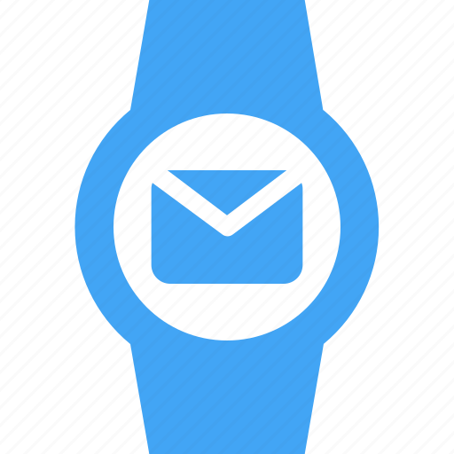 clock, device, email, message, smart watch, time, watch icon
