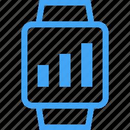 clock, device, graph, smart watch, watch icon