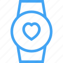 clock, device, heart, like, smart watch, watch icon