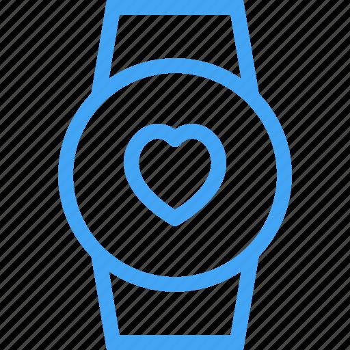 clock, device, heart, like, smart watch, watch icon