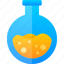 education, flask, glass, oval icon
