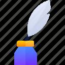 feather, pen, tint, write icon