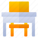 chair, desk, school, table icon