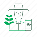 agricultural, agriculture, farm, farmer, smart farm, smartphone, technology icon