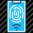access, fingerprint scanner, mobile phone, scan, smartphone icon
