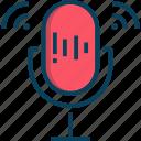 microphone, sound, voice command, voice recorder, voice recording icon