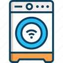 digital, electronics, internet of things, smart washing machine, washing machine icon