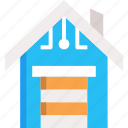 garage, internet of things, network, smart garage, smart home icon