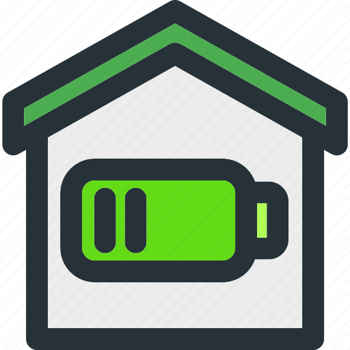 battery, building, charge, empty, energy, home, smart icon
