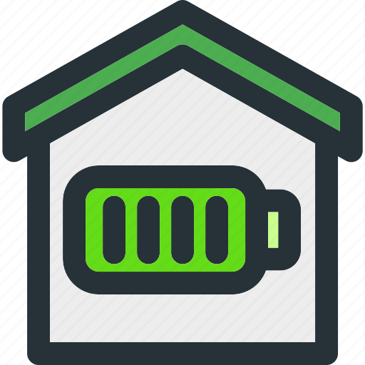 apartment, battery, charge, energy, full, home, smart icon