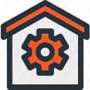 home, smart, building, construction, gear, settings, tools icon