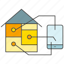 control, device, house, mobile, smart home, sync icon
