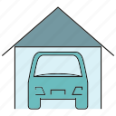 car, garage, home icon