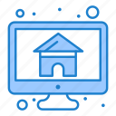 computer, home, house, monitor, screen icon
