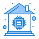 automation, chip, home, house, microchip icon