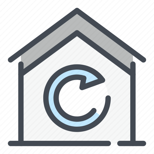 building, home, house, real estate, sync, syncronize, update icon