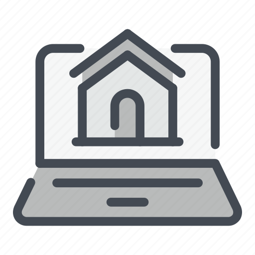 Building, estate, home, house, laptop, online, real icon - Download on Iconfinder