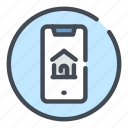 connection, home, house, mobile, online, phone, smartphone icon