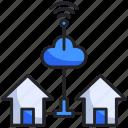 cloud, control, home, house, internet, signal, smart