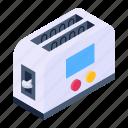 toaster, toast machine, electronics, sandwich toaster, slice toaster icon