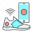 mobile, shoes, smart, smart shoes, technology icon